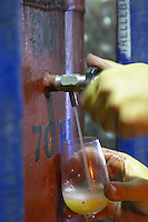 taking a tank sample domaine pelaquie rhone france
