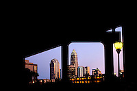 The Charlotte skyline at dusk, as viewed from the Queen City's new nightlife and entertainment district, the NC Music Factory.