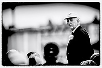 """Henley on Thames,  GREAT BRITAIN, 4 July 2008, Henley Umpire and Steward, Fred SMALLBONE, """"standing in the bow of """"ULYSSES"""", after an evening race,  2008 Henley Royal Regatta, on  Friday, Henley on Thames. ENGLAND.,  """"Film Noir Style Photography"""", © Peter SPURRIER,"""