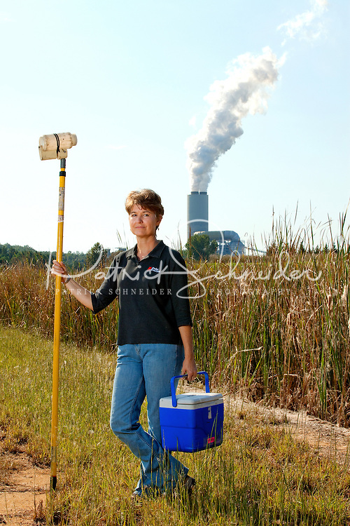 Scientists monitor soil, water and air quality at the Marshall Steam Station outside Charlotte, NC. Duke Energy's Marshall Steam Station is a coal-fired generating facility located in Catawba County, North Carolina. The steam generation plant is Duke Energy's second largest coal facility in the Carolinas. The plant generates enough electricity to power 2 million homes.