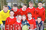 SOCCER: In the Finals of the U-15 Community Games Soccer in the Community Centre Listowel on Sunday were The Duagh-Lyre team, Paul OCallaghan, P.J. Mangan, Christopher Breen, Conor ORegan, Eamon McKenna, James OConnor, Padraig McNamara, Nigel OConnor and their mascot Dylan Breen..