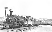 #473 with 5 car San Juan in Durango yards.<br /> D&amp;RGW  Durango, CO  Taken by Ward, Bert H. - 7/8/1946