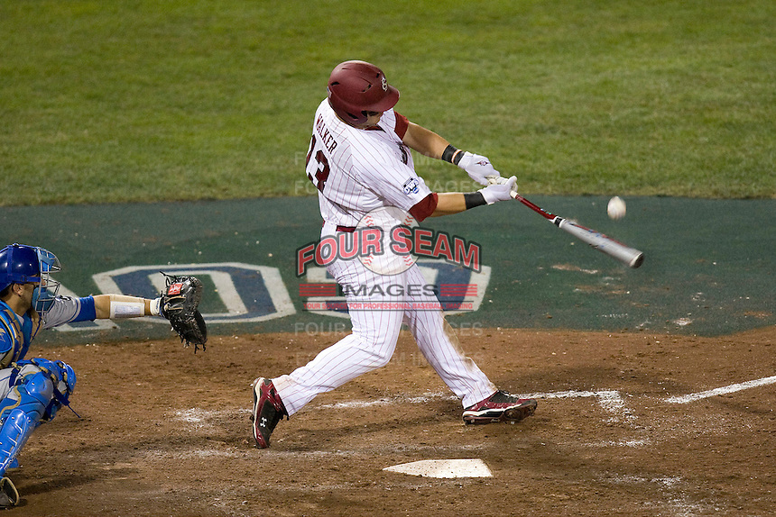 South Carolina 1B Christian Walker in Game Two of the NCAA Division One Men's College World Series Finals on June 29th, 2010 at Johnny Rosenblatt Stadium in Omaha, Nebraska.  (Photo by Andrew Woolley / Four Seam Images)