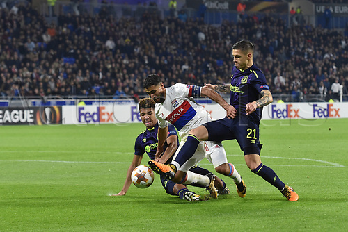 2nd November 2017, Nice, France; EUFA Europa League, Olympique Lyonnais versus Everton;  Nabil Fekir (lyon) brought down by the tackle from Mason Holgate and Muhamed Besic (everton)