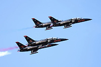 Four aircraft of the Patriots Jet Demonstration Team in flight during the 2009 San Francisco Fleet Week. The Patriots fly the Czechoslavakian built L-39 Albatross Trainer.