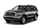 2014 Toyota Sequoia SR5 5 Door SUV angular front stock photos of front three quarter view