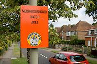 Neighbourhood Watch sign in a reasonably wealthy middle class neighbourhood..