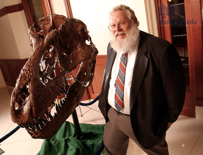 May 30, 2003; Professor Keith Rigby with a replica of a Tyrannosaurus Rex skull he discovered on a dig in Montana...For Notre Dame Magazine..Photo by Matt Cashore