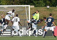 04 September 2009:Andrew Quinn #0 of the University of Notre Dame crashes into Bright Dike #9 during an Adidas Soccer Classic match against Wake Forest at the University of Indiana in Bloomington, In. The game ended in a 1-1 tie..