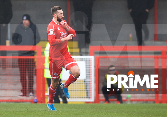 Ollie Palmer of Crawley Town celebrates after scoring the opening goal during the Sky Bet League 2 match between Crawley Town and Grimsby Town at The People's Pension Stadium, Crawley, England on 25 January 2020. Photo by Alan  Stanford / PRiME Media Images.