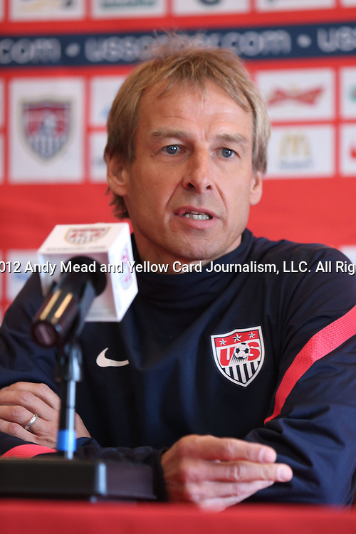 15 October 2012: U.S. head coach Jurgen Klinsmann (GER). The United States Men's National Team held a press conference at Kansas City Downtown Marriott Hotel in Kansas City, Missouri one day before a CONCACAF Third Round World Cup Qualifying match for the FIFA 2014 Brazil World Cup.