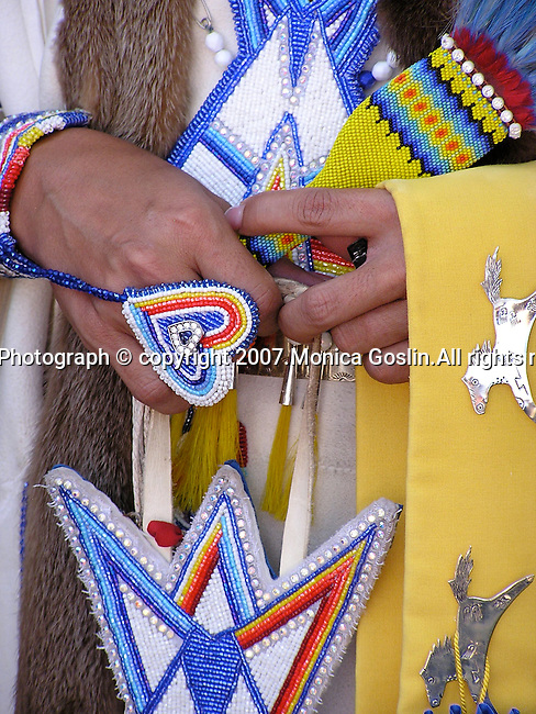 Detail of a woman's hands at the costume contest at the Indian Market in Santa Fe, New Mexico.