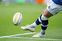 A general view of a ball being kicked. Aviva Premiership match, between Leicester Tigers and Bath Rugby on September 3, 2017 at Welford Road in Leicester, England. Photo by: Patrick Khachfe / Onside Images