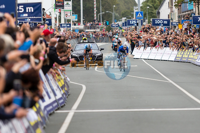 Elia Viviani (ITA) and Yves Lampaert (BEL) approach the finish line of the Elite Men's Road Race during the 2019 UEC European Road Championships, Alkmaar, The Netherlands, 11 August 2019.<br /> <br /> Photo by Thomas van Bracht / PelotonPhotos.com | All photos usage must carry mandatory copyright credit (Peloton Photos | Thomas van Bracht)