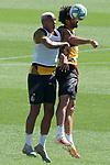 Getafe's Deyverson Da Silva (l) and Xavier Etxeita during training session. June 5,2020.(ALTERPHOTOS/Acero)