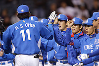 Hee-Seop Choi of Korea during the World Baseball Championships at Angel Stadium in Anaheim,California on March 15, 2006. Photo by Larry Goren/Four Seam Images