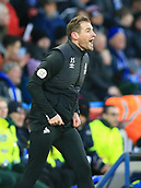9th February 2019, The John Smith's Stadium, Huddersfield, England; EPL Premier League football, Huddersfield versus Arsenal; Huddersfield Town manager Jan Siewert urges on his team as they trail 1-2 in the dying minutes of the match