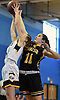 Julia Wilkinson #11 of Wantagh, right, and Brianna Winkler #4 of West Babylon battle for a rebound during a non-league girls basketball game at Robert Moses Middle School in North Babylon on Saturday, Dec. 22, 2018. Wantagh won by a score of 49-30.