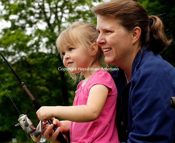 Roxbury, CT-22, May 2010-052210CM02 COUNTRY LIFE USE  Mary Ambruso, and her daughter, Kerstin, 3, of Roxbury spend the morning together at the Roxbury fishing derby Saturday morning. --Christopher Massa Republican-American