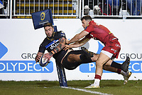 Matt Banahan of Bath Rugby scores a try in the second half. European Rugby Champions Cup match, between Bath Rugby and the Scarlets on January 12, 2018 at the Recreation Ground in Bath, England. Photo by: Patrick Khachfe / Onside Images