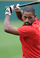 Outfielder Jackie Bradley Jr. works out with his former University of South Carolina Gamecocks teammates on January 20, 2012, at Carolina Stadium in Columbia, South Carolina. Bradley was a top pick of the Boston Red Sox in 2011 and played briefly in the Sox' Minor League system late in the 2011 season. (Tom Priddy/Four Seam Images)