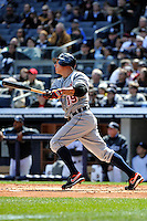 Apr 03, 2011; Bronx, NY, USA; Detroit Tigers infielder Brandon Inge (15) during game against the New York Yankees at Yankee Stadium. Tigers defeated the Yankees 10-7. Mandatory Credit: Tomasso De Rosa