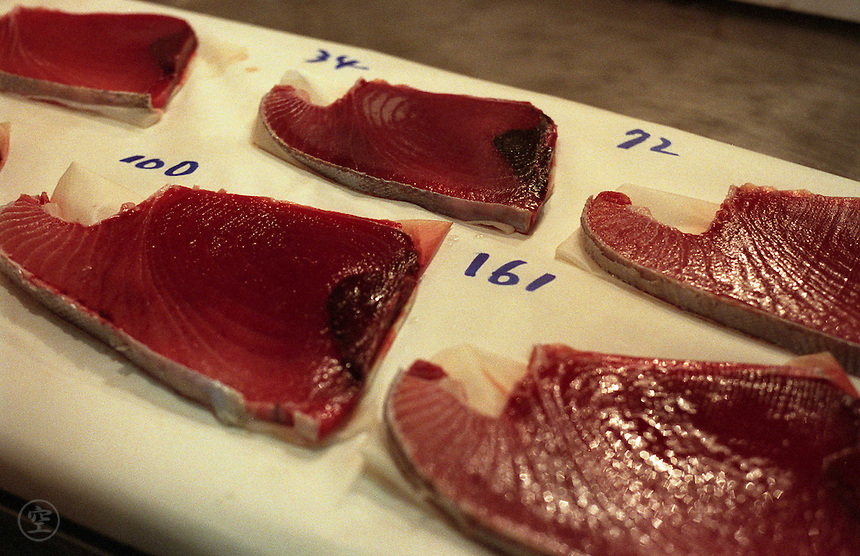 Samples of a variety of qualities of tuna, with prices, Tsukiji Fish Market, Tokyo, Japan