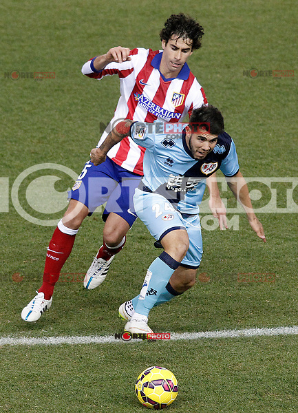 Atletico de Madrid's Tiago Mendes (l) and Rayo Vallecano's Alejandro Pozuelo during La Liga match.January 24,2015. (ALTERPHOTOS/Acero) /NortePhoto<br />
