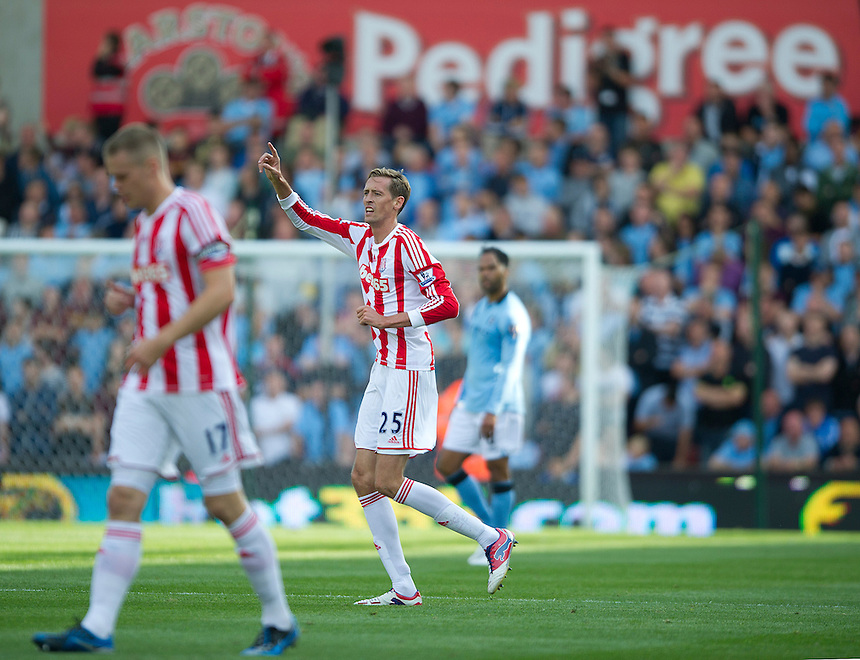 Stoke City's Peter Crouch celebrates scoring the opening goal perhaps demonstrating he still has a certain Pedigree..Football - Barclays Premiership - Stoke City v Manchester City - Saturday 15th September 2012 - Britannia Stadium - Stoke..