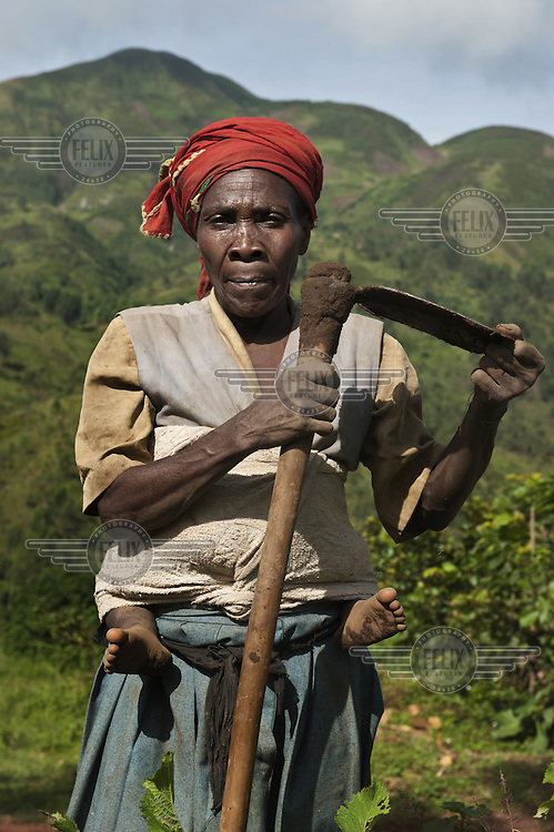 A woman with a baby wrapped on her back hoes a field in the Mabayi Commune, Ruhororo Colline.