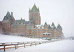 Snowstorm at Chateau Frontenac, Quebec City, Canada