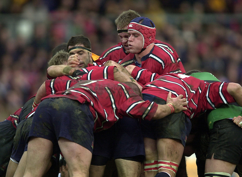Photo - Peter Spurrier.28/12/2002.Sport - Rugby - Zurich Premiership .Northampton Saints v Gloucester RFC.Mark Cornwall after winning the line out ball.