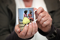 Pictured: A mug with the iconic image taken by Bert Hardy. Re: 77 year old Pat Stewart (nee Wilson) who now lives near Llantwit Major in the Vale of Glamorgan, south Wales claims she is one of the two young ladies in an iconic image taken by photographer Bert Hardy at Blackpool Promenade in July 1951, alongside fellow Tiller girl Wendy Clarke. Stewart is alleging that another woman, Norma Edmondson who has been claiming that it is her in the picture, is a fraud.<br /> THE COPYRIGHT OF THE IMAGE ON THE ITEM DEPICTED BELONGS TO BERT HARDY / GETTY IMAGES AND IS ONLY SUPPLIED TO SUPPORT PAT STEWART'S CLAIMS