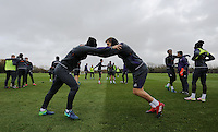 Fernando Llorente (R) with a team mate stretching during the Swansea City Training at The Fairwood Training Ground, Wales, UK. Wednesday 16 November 2016