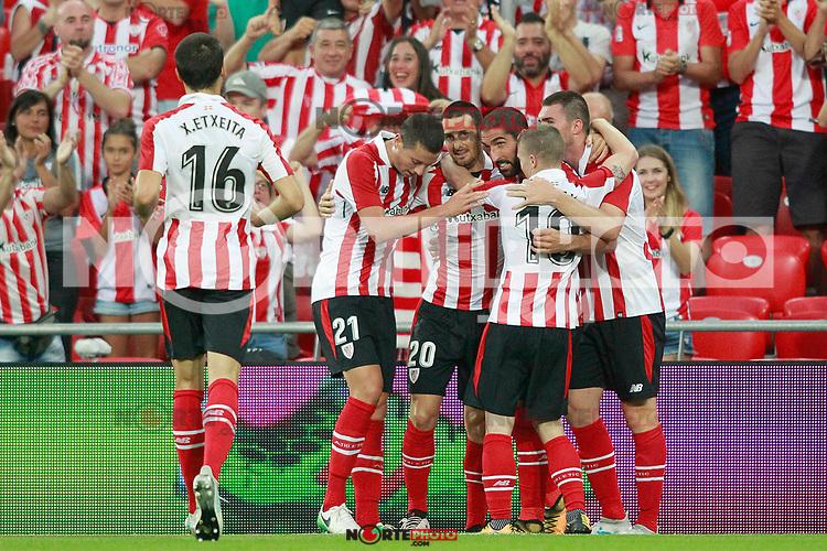 Athletic Club de Bilbao's Xavier Etxeita, Mikel Vesga, Aritz Aduriz, Raul Garcia, Iker Muniain and Aymeric Laporte celebrate goal during Europa League Third Qualifying Round, 2nd leg. April 5,2012. (ALTERPHOTOS/Acero) /NortePhoto.com
