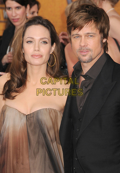 ANGELINA JOLIE & BRAD PITT.14th Annual Screen Actors Guild Awards held at the Shrine Auditorium, Los Angeles, California, USA..January 27th, 2008.SAG red carpet arrivals half length strapless couple brown grey gray ombre dip dye tye tie dress black suit goatee facial hair gold hoop earrings .CAP/ADM/BP.©Byron Purvis/AdMedia/Capital Pictures. *** Local Caption *** .