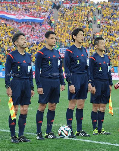 (L-R) ñºñÿóòçK/Toshiyuki Nagi, Alireza Faghani, êºë∫óYàÍ/Yuichi Nishimura (Referee), ëäûŸãú/Toru Sagara, JUNE 12, 2014 - Football / Soccer : FIFA World Cup Brazil 2014 Group A match between Brazil 3-1 Croatia at Arena de Sao Paulo in Sao Paulo, Brazil. (Photo by SONG Seak-In/AFLO)