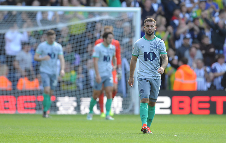 Blackburn Rovers' Adam Armstrong looks dejected after West Bromwich Albion's Grady Diangana (not in picture) scores his side's third goal <br /> <br /> Photographer Kevin Barnes/CameraSport<br /> <br /> The EFL Sky Bet Championship - West Bromwich Albion v Blackburn Rovers - Saturday 31st August 2019 - The Hawthorns - West Bromwich<br /> <br /> World Copyright © 2019 CameraSport. All rights reserved. 43 Linden Ave. Countesthorpe. Leicester. England. LE8 5PG - Tel: +44 (0) 116 277 4147 - admin@camerasport.com - www.camerasport.com