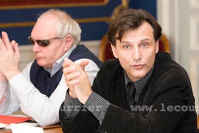 Genève, le 10.11.2008.CP sur le cycle d'orientation..Charles Beer et david Hiller.© Le Courrier / J.-P. Di Silvestro