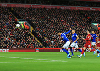 5th January 2020; Anfield, Liverpool, Merseyside, England; English FA Cup Football, Liverpool versus Everton; Mason Holgate of Everton heads the ball powerfully at goal  - Strictly Editorial Use Only. No use with unauthorized audio, video, data, fixture lists, club/league logos or 'live' services. Online in-match use limited to 120 images, no video emulation. No use in betting, games or single club/league/player publications