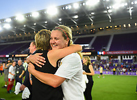 Orlando, FL - Saturday October 14, 2017: Lindsey Horan celebrates during the NWSL Championship match between the North Carolina Courage and the Portland Thorns FC at Orlando City Stadium.
