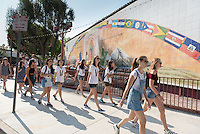 Incoming Occidental College students participate in Oxy Engage with the group LA Icons and tour around Olvera Street near downtown Los Angeles, on Aug. 24, 2016.<br /> Oxy Engage is a pre-orientation program that introduces incoming students to the vibrant city of Los Angeles. Upperclassmen facilitators lead trips to experience culture, film, food, nature, social justice, the urban environment, and much more.<br /> (Photo by Marc Campos, Occidental College Photographer)