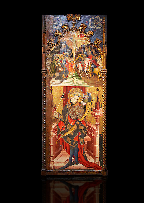 Gothic altarpiece depicting top, Calvary, bottom, St Sebastia (Sebastian) , by Joan Mates of Villafranca de Penedes, circa 1417-1425, from the refrectory of Pia Almoina, Barcelona, Temperal and gold leaf on wood.  National Museum of Catalan Art, Barcelona, Spain, inv no: MNAC  32340. Joan Mates was a Spanish painter of the International Gothic style. Against a black background.
