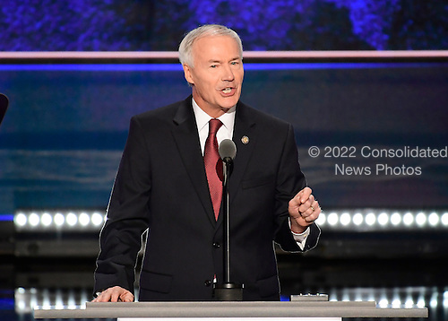 Governor Asa Hutchinson (Republican of Arkansas) makes Remarks at the 2016 Republican National Convention held at the Quicken Loans Arena in Cleveland, Ohio on Tuesday, July 19, 2016.<br /> Credit: Ron Sachs / CNP<br /> (RESTRICTION: NO New York or New Jersey Newspapers or newspapers within a 75 mile radius of New York City)