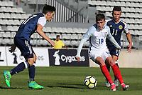 David Brooks of England takes on Scotland's Ruben Sammut during England Under-18 vs Scotland Under-20, Toulon Tournament Semi-Final Football at Stade Parsemain on 8th June 2017