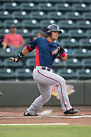 Jose Marmolejos (3) of the Potomac Nationals follows through on his swing against the Winston-Salem Dash at BB&T Ballpark on July 15, 2016 in Winston-Salem, North Carolina.  The Dash defeated the Nationals 10-4.  (Brian Westerholt/Four Seam Images)
