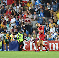 Wales's Jevon Groves looks dejected at the final whistle<br /> <br /> Wales Vs England - men's classification 5th - 6th place match<br /> <br /> Photographer Chris Vaughan/CameraSport<br /> <br /> 20th Commonwealth Games - Day 4 - Sunday 27th July 2014 - Rugby Sevens - Ibrox Stadium - Glasgow - UK<br /> <br /> © CameraSport - 43 Linden Ave. Countesthorpe. Leicester. England. LE8 5PG - Tel: +44 (0) 116 277 4147 - admin@camerasport.com - www.camerasport.com