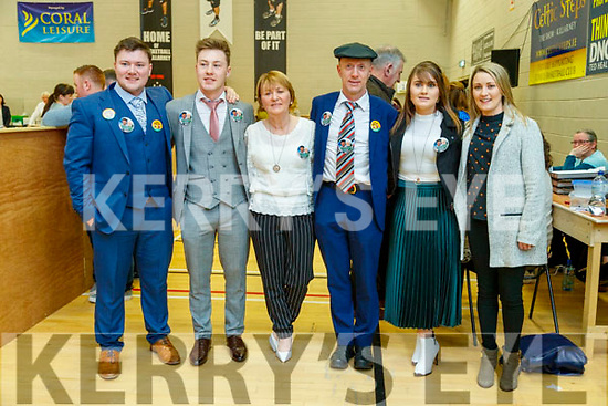 Jackie, Kevin, Eileen, Michael, Rosie and Juliette Healy Rae pictured at the count centre in Killarney on Sunday last.