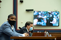 Civil rights demonstrator Kishon McDonald watches a video during a House Natural Resources Committee hearing on Monday, June 29, 2020 to discuss the recent incident with U.S. Park Police removing protesters and journalists on June 1st at St. John's Episcopal Church near the White House for President Trump to conduct a photo op<br /> Credit: Bonnie Cash / Pool via CNP / MediaPunch