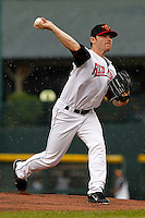 Rochester Red Wings starting pitcher Liam Hendriks #40 during a game against the Scranton Wilkes-Barre Yankees at Frontier Field on August 21, 2011 in Rochester, New York.  The game was called due to thunderstorms in the second inning.  (Mike Janes/Four Seam Images)